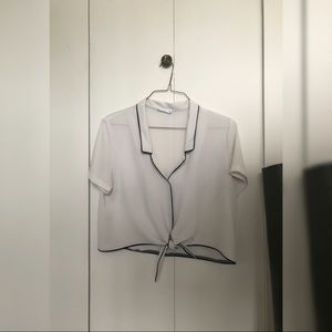 Collared Short-Sleeve Crop Blouse
